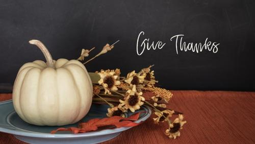 Give Thanks pumpkin and flowers