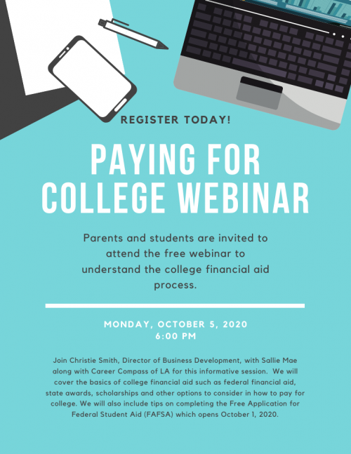 Paying for College Webinar. Register here.