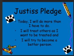 We say our school pledge every morning.