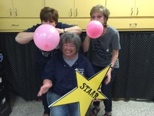 Mrs. Dockery, Mrs. Turner & Mrs. Garrett have fun getting ready to burst the STAAR test!