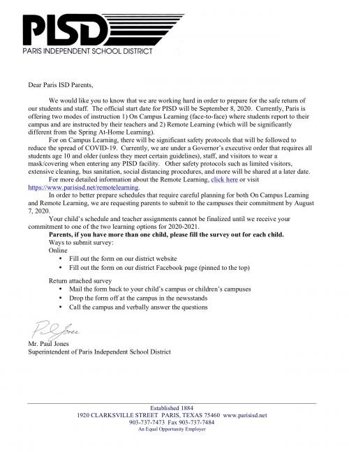 Welcome Letter-English