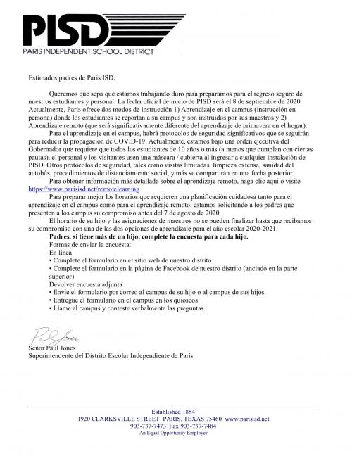 Welcome Letter-Spanish