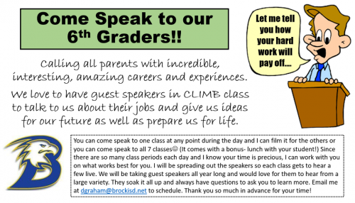 Talk to our 6th Graders