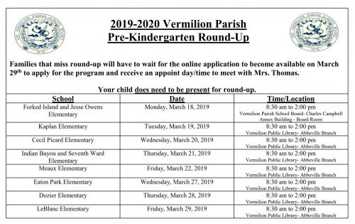 PreK Roundup Dates 2019