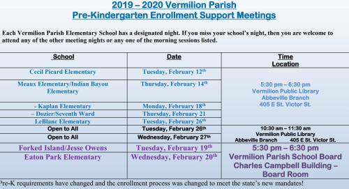 PreK Enrollment Meetings