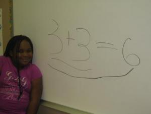 Drenisha working with doubles math facts.