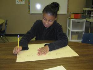 Danielle working on doubles thinking map.