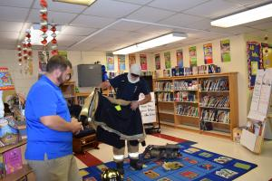 Thanks once again to our Erath Volunteer Fire Department for their annual visit. Our Fire Prevention program was a success once again. First graders at the program.