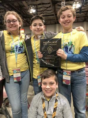1st Place: Quiz Bowl: Preston Bourgeois, Everett Etie, Allie Falgout, and Carter Primeaux