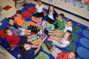 "Wednesday, October 17th was ""SOCK it to Bullies and Drugs"". Pictured are Dozier Elementary students wearing crazy socks."