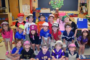 "Thursday was ""Put a Cap on Drugs"" Day. Pictured are some Dozier Elementary PreK students with their caps and hats."