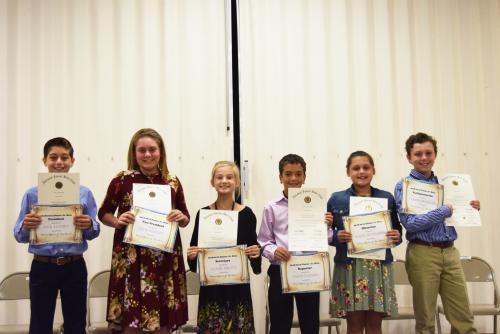 On Monday, October 15, 2018, Dozier Elementary held its annual Jr. Beta Induction Ceremony.  The officers chosen for the 2018-2019 year are: President- Jack Landry, Vice-President -Allie Falgout, Secretary-Claire Pigott, Reporter-Talen Landry; Historian-Ali Bouillion and Parliamentarian-Carter Primeaux.