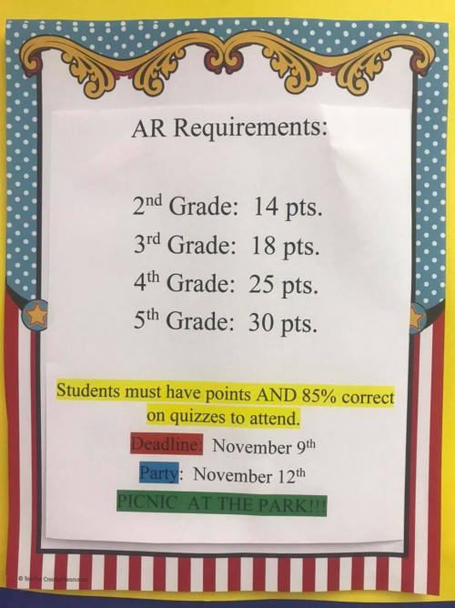 1st AR requirements for 2021-22 from Mrs. Poche, our DES Librarian