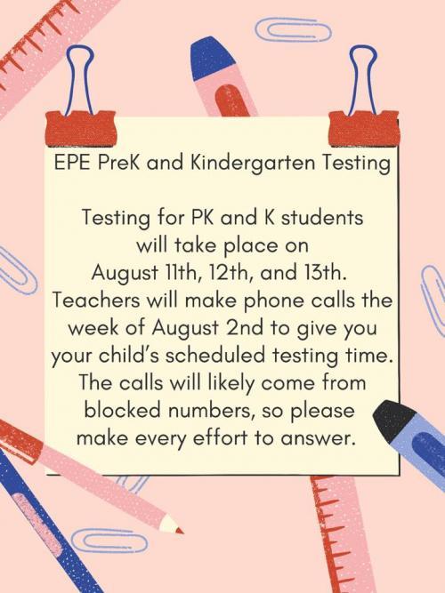 PreK K Testing 2021