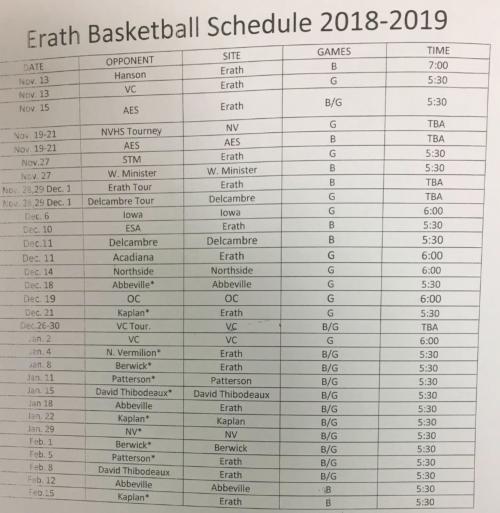 BB Schedule