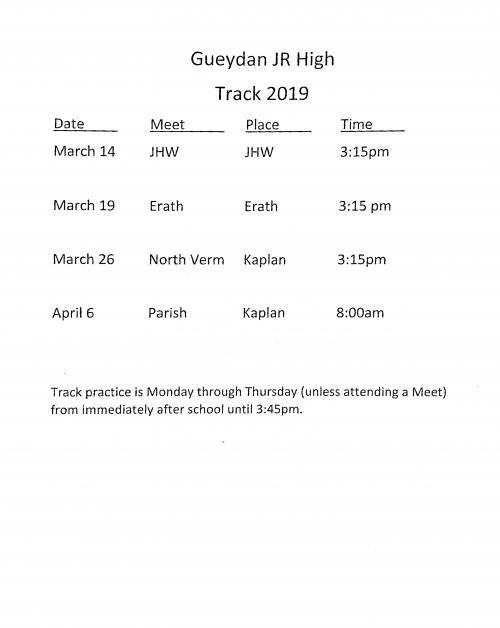 Junior High Track Schedule