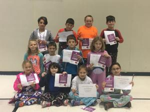 1st Nine Weeks Perfect Attendance Front Row: Payton Price, Cecily Guidry, Carrely Bertrand, Abigail Potier Second Row: Rachelle Istre, Ashton LaBauve, Kayden Maricle, Jenna Slack Back Row: Colby Benoit, Hayden Abshire, Brinkley Bertrand and Noah Breaux
