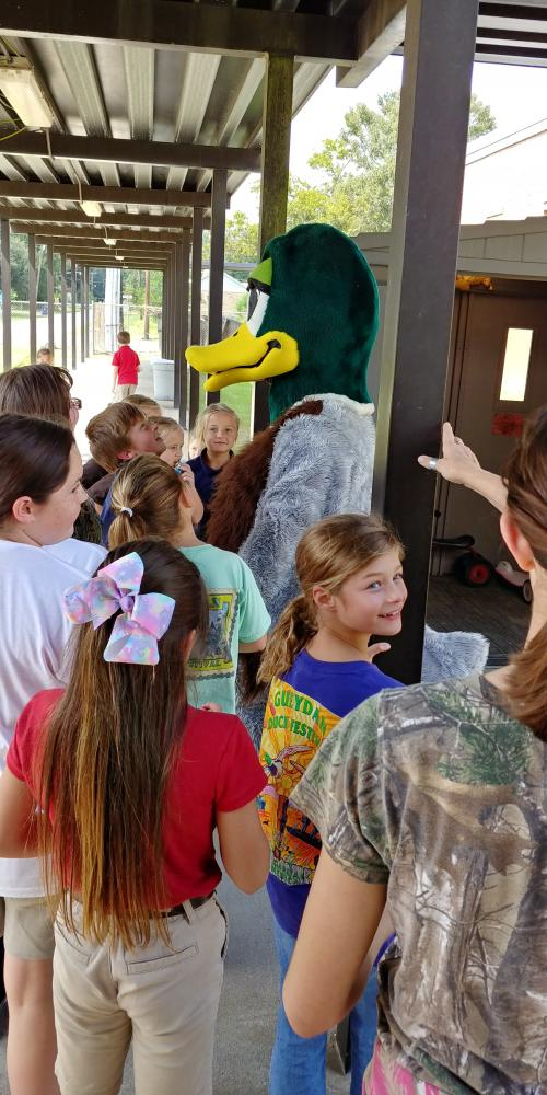 Pierre Canard came to visit the students to promote the Duck Festival beginning this evening and ending on Sunday.