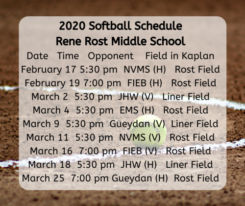 2020 Rene Rost Softball Schedule