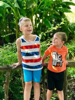 My nephews came to visit us this summer. We went to the botanical gardens in Fayetteville!