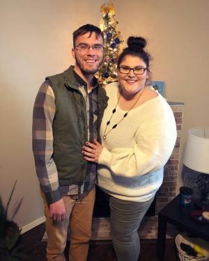 My husband (Ben) and I at Thanksgiving. Yes, we already had our Christmas tree up!