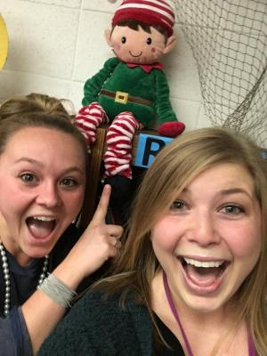 When teachers have games during December... Mrs. Mowrer and I found the Elf first!