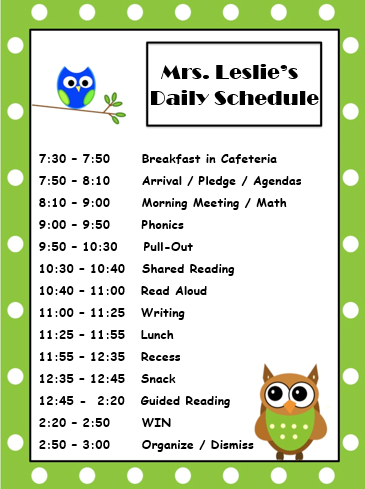 Mrs. Leslie's Daily Schedule