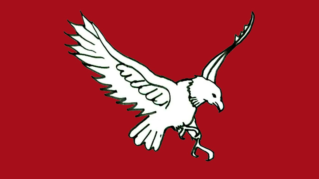Eagle on maroon background
