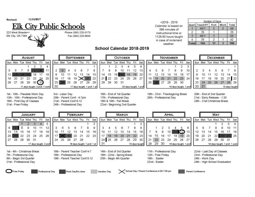 2018-2019 District Calendar