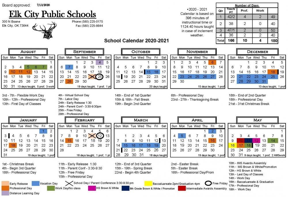 2020-2021 School District Calendar