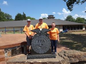 Morris FFA Alumni Camp camper Corbin Clark, Cayden Ledbetter, Mollie Jobe