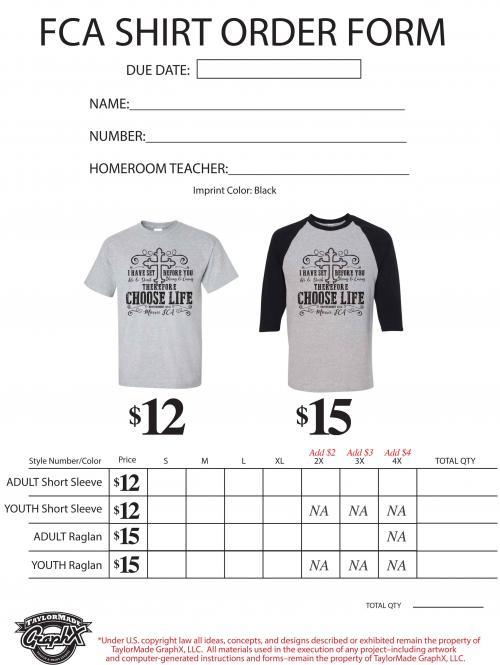 FCA T-shirt design