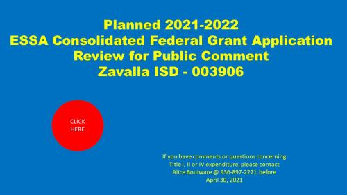 2021 through 2022 ESSA Consolidated Federal Grant Application