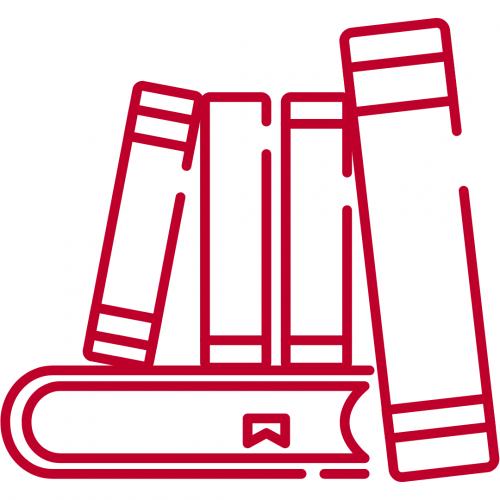 book icon represents academics