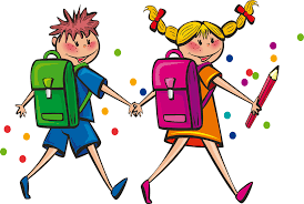 boy and girl with back pack and pencil
