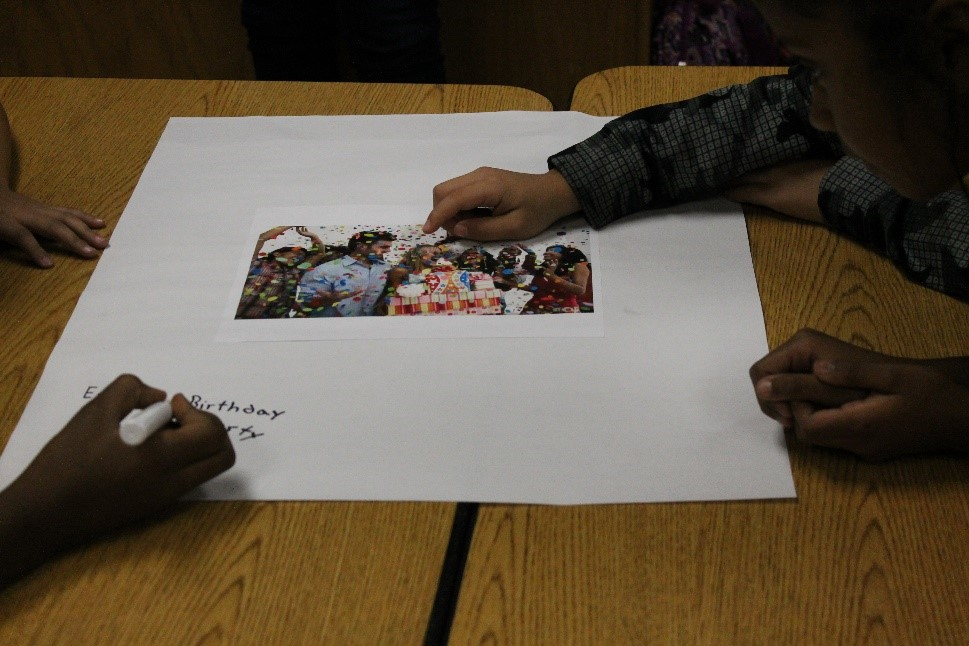 Students use a culturally responsive strategy to make connections to new vocabulary during a model lesson.
