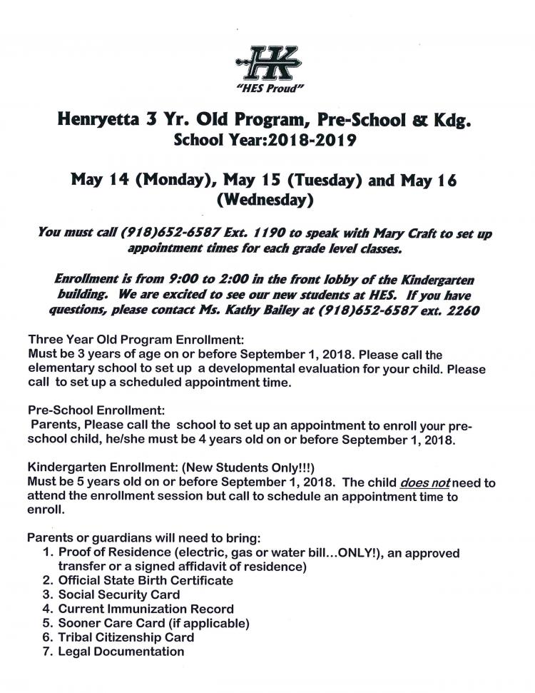 2018-19 Henryetta 3 Yr Old Program, Pre-School & Kg. Enrollment