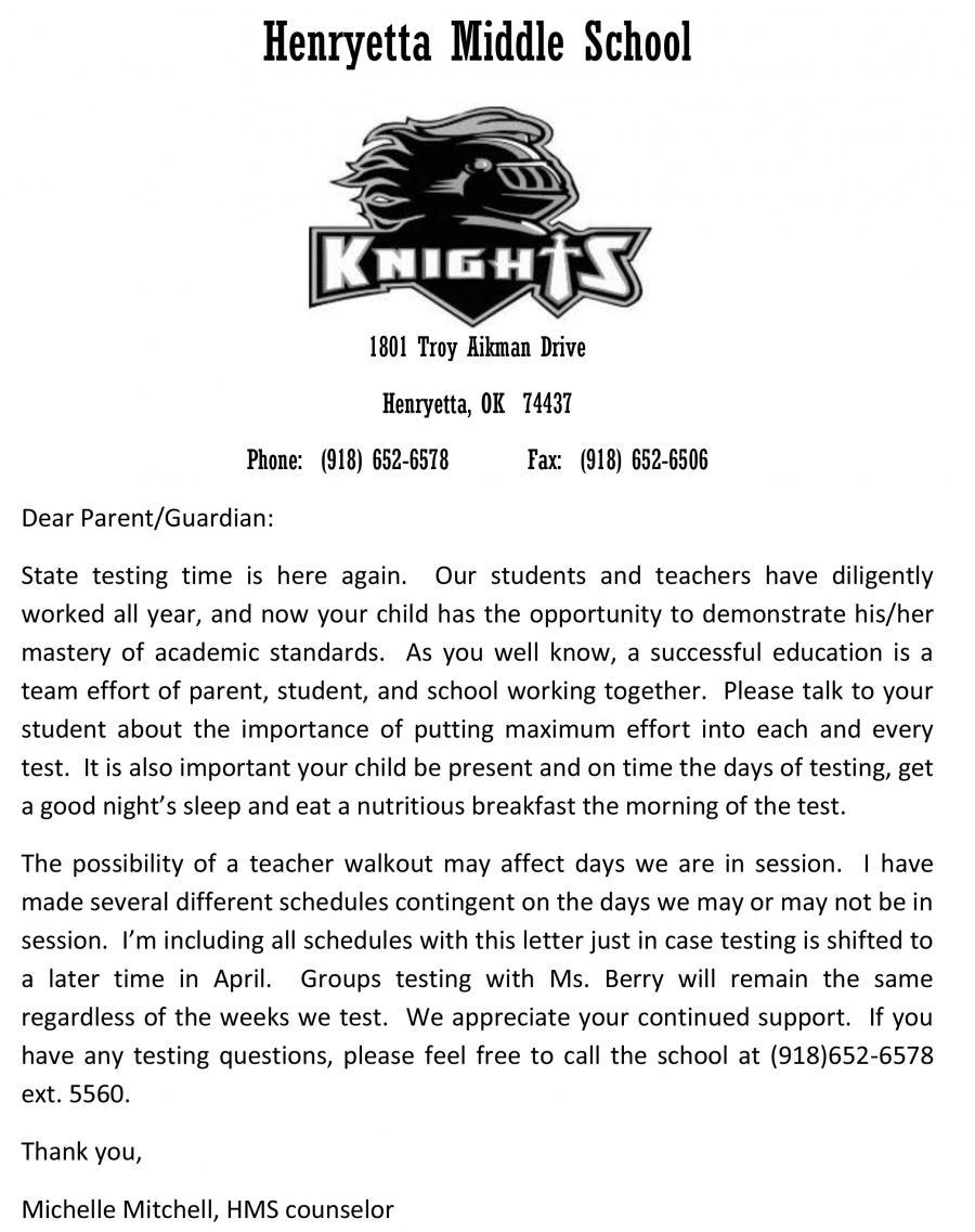 MS State Testing Letter