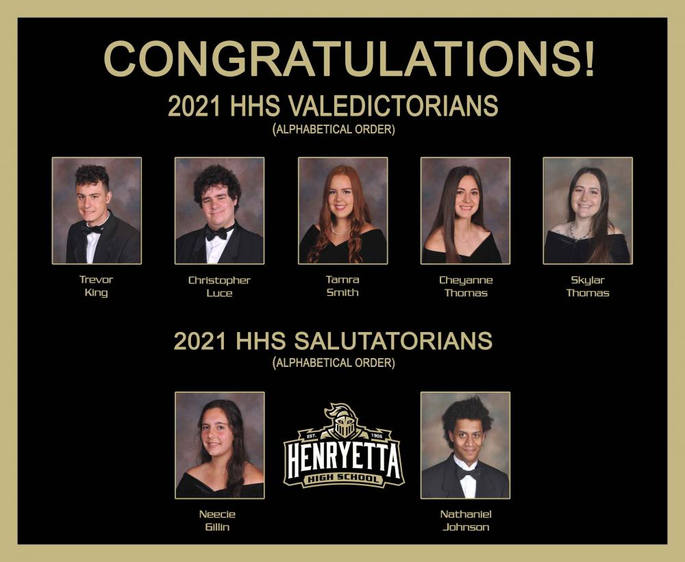 2021 Valedictorians and Salutatorians