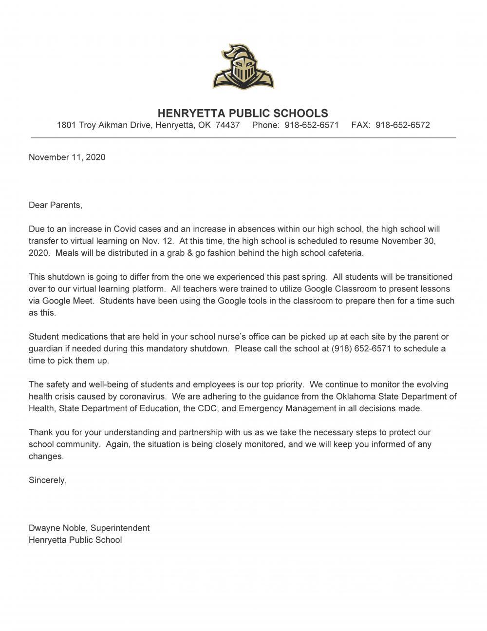 Updated HS Covid Closure