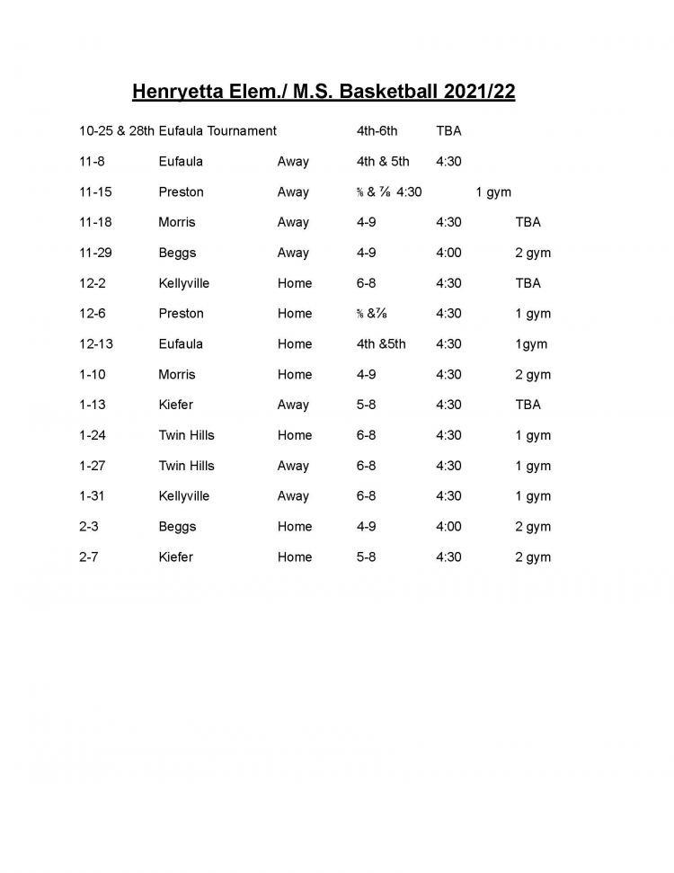 21-22 Elementary Basketball