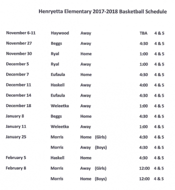4th-5th Grade Basketball Schedule