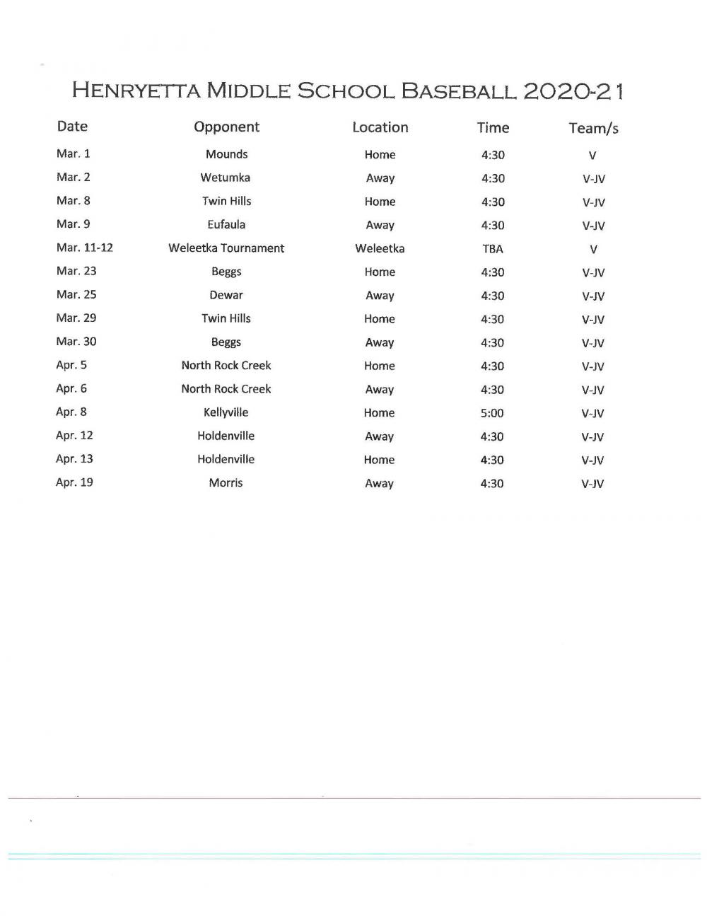 2020-2021 MS Baseball Schedule