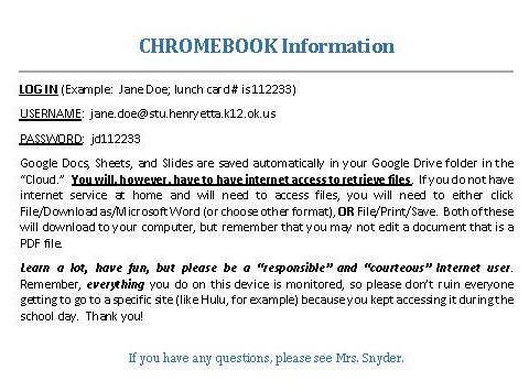 Chromebook Login Information