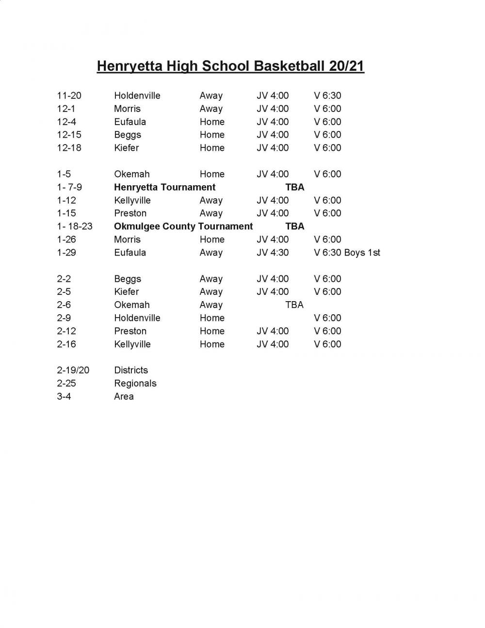 20-21 HS Basketball Schedule