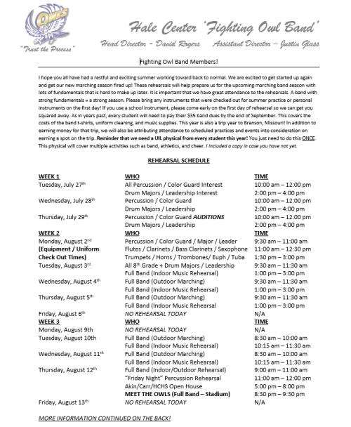 2021 Summer Band Schedule 2