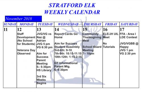 Stratford High School weekly activities as listed on the rotating information on the homepage.