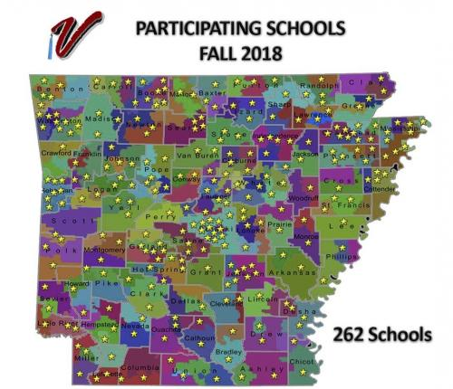 Map of Arkansas showing school patricipating in Fall 2018