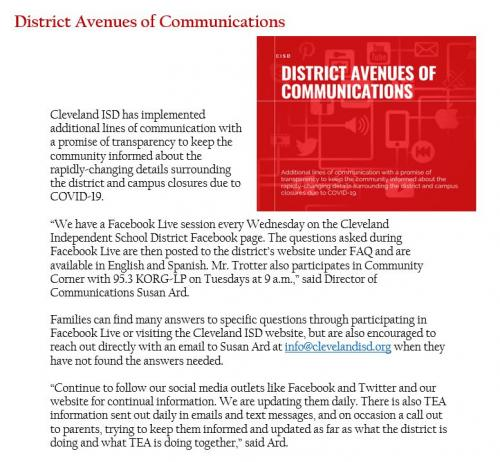 District Avenues of Communications during COVID-19
