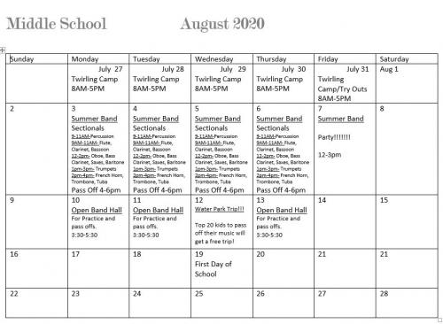 CMS Summer Band Schedule